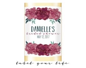 Bridal shower wine label, bridal shower champagne label, Bridal Shower Favors, Mini wine labels, mini champagne label, Mini Wine Favor