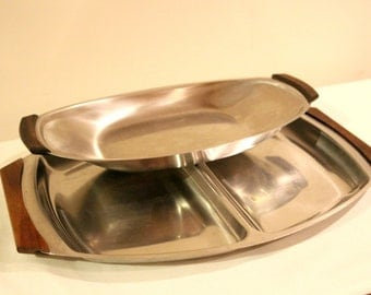 Two Danish stainless steel & teak serving dishes/platters