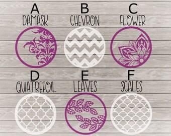 Decorative circle decal, Wine glass bottom decal, keychain decal, chevron, quatrefoil, damask, scales, floral, vinyl sticker, embellishment