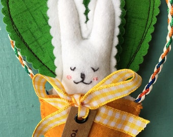 Rabbit in a Carrot Easter Ornament, Hand-stitched Easter Bunny in a Carrot, Gift for a Rabbit-lover, Sleepy Bunny in a Carrot