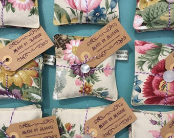 Pair of Lavender Drawer Sachets made with Vintage Fabric,  Two Lavender-filled sachets made with Vintage Floral Fabric and Fresh Linen