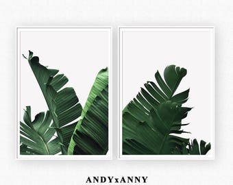 Banana Leaves Prints, Green Leaves, Set of 2 Prints, Set of Two Print, Banana Leaf Poster, Green Prints, Green Home Decor, Leaf Decor