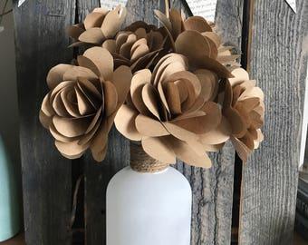 Brown Paper Roses in Vase