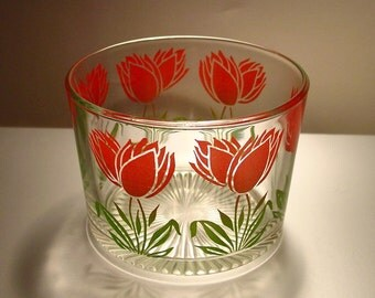 Vintage Glass Ice Bucket Red Flowers Green Leaves, Floral, Retro Barware