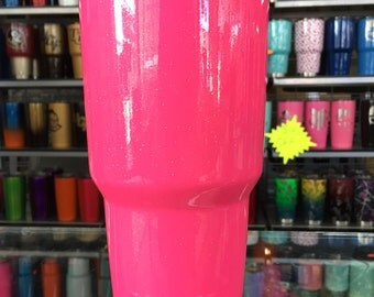 NEON PINK SPARKLE powdercoated yeti 30oz