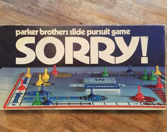 1972 Complete SORRY - Slide Pursuit Game by Parker Brothers No 390