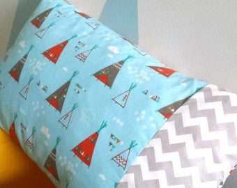 Boy Cushion cover, printed Tipis, room decoration