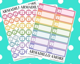 Telephone Reminders, Choose Icons or Boxes {14+ Fancy Matte or Glossy Planner Stickers, Double Rainbow} | #17-264