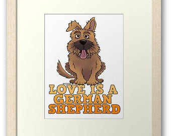 Love is a German Shepherd wall print for dog lovers.