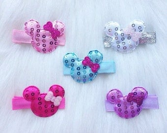 Minnie Mouse hair clips, Minnie Mouse bows, Minnie Mouse, hair clips, hair bows