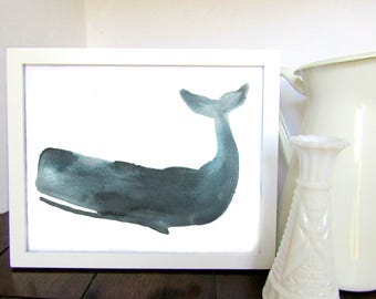 Whale Watercolor Print, Blue Whale, Whale Art, Nursery Decor, Wall Decor, Kids Room Decor, Shower Gift, Whale Painting, Whale Watercolor