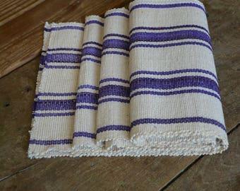Hand-loom cotton runner , Handwoven cotton mat .