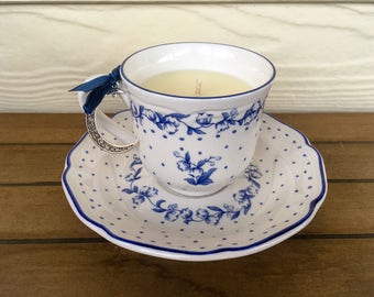 Handmade Soy Candle - Vintage Blue Tea Cup
