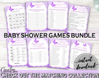 Games Baby Shower Games Butterfly Baby Shower Games Baby Shower Butterfly Games Purple Pink party theme, customizable files, prints 7AANK