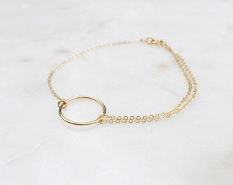 Circle Bracelet / Gold Circle Bracelet / Delicate Gold Bracelet / Double Chain Gold Bracelet
