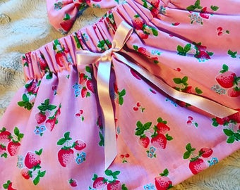 Strawberry skirt and matching bow