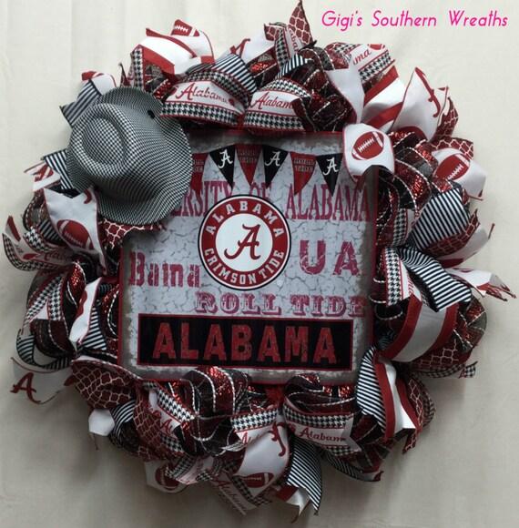 Alabama wreath roll tide deco mesh wreaths football wreath for Alabama football wall mural