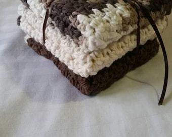 100% cotton Hand crocheted washcloths. Espresso color. Set of 3