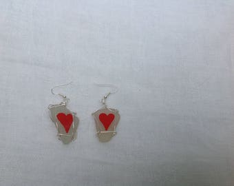 Simple heart earrings, Handpainted on seaglass and wire wrapped