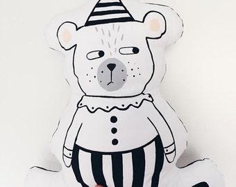 Hand painted cushions / clown, bear - circus