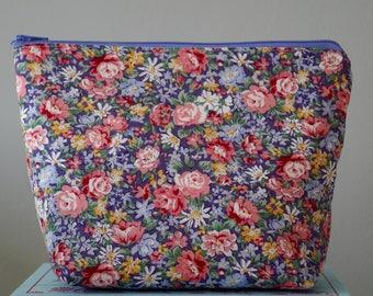 Purple Spring Rose Make Up Bag, Cosmetic Bag, Floral, Ladies Gift Idea - Purple Rose Floral Design