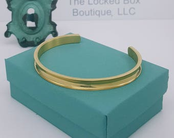 Yellow Stainless Steel Cuff Bracelet   Curved Bangle   Stainless Steel   Bracelet with Ridge   Ridged Cuff Bracelet