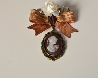 Cameo brooch & hair clip with bow and paper flower-lolita elegant classic renaissance mori kei fashion
