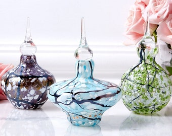Cherry Blossom Design Glass Perfume Bottle - Whimsical - Light Blue, Lavender Purple, Jade Green