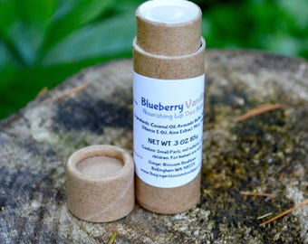Blueberry Vanilla Duo Nourishing Lip Balm, natural, lipcare, earth friendly, travel, accessories, blueberries, vanilla, gifts