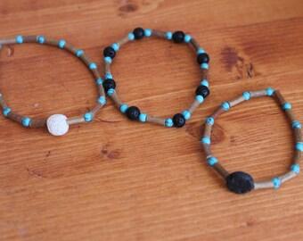 Hazelwood Bracelet, Eczema Relief, Natural Wood Beaded bracelet, Heartburn relief, Turquoise Beaded Bracelet, Lava Rock, Diffuser Bracelet