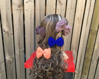 Luna Crochet Bow Hair Clip / Snood Accessory / Head Band Accessory / Various Colours / Buy 3 get one FREE