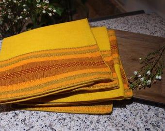 Vintage Woven Orange Napkins Set of 4