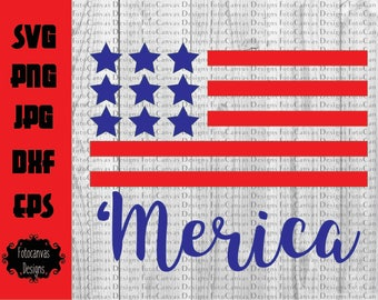 Independence Day SVG, 'Merica SVG, Red White and Blue, American Flag, T-shirt Design, Children, Silhouette Cameo, Cricut, Cutting File