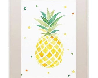 Pineapple Print // Watercolour Pineapple // Fruit // Tropical // Yellow