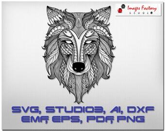 Zentangle Wolf mandala files - cuttable Cricut Design Space, Silhouette Digital Cut Files Instant Download, svg dxf studio3 Zentangle doodle