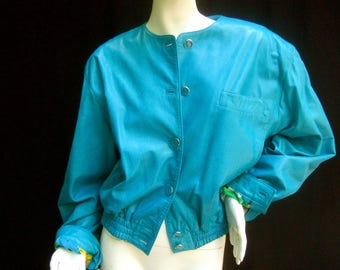 Louis Feraud Turquoise Leather Marilyn Monroe Jacket