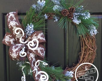 Wreath, Winter Wreath, Pine Wreath, Pine Cone Wreath, Wreath, Wreath Street Floral, Front Door Wreath, Frosted Pine Wreath, Grapevine Wreath