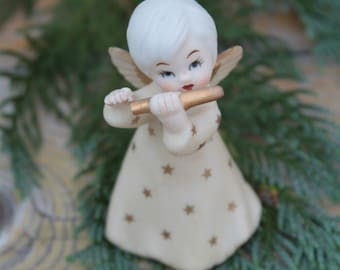 Hark the Darling Angel Vintage Angelina Collection Vintage Porcelain Bisque Angel Playing Flute Figurine