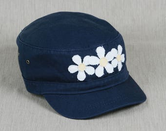 Womens cadet hat with handmade flower decal