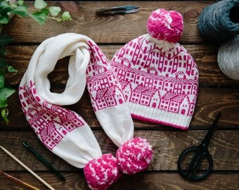 Cashmere knitted hat & scarf set - fairisle hat and scarf with pom-pom - luxury hat and scarf - Hebden Houses pattern