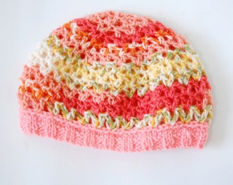 Baby Beanie, Baby Hat, Knitted Hat, Crochet Hat, Baby Girl Hat, Openwork Baby Hat, Color Crochet Hat, Pink Crochet Hat, Spring Hat