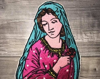 VIRGIN MARY Tatto Iron Patch