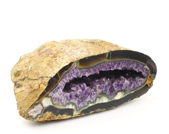 Amethyst Crystal Geode - One Side Cut and Polished - 7-9 inches