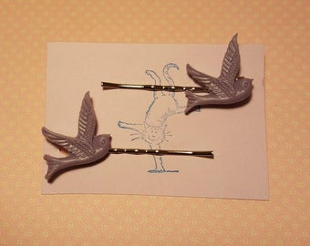 Handmade lilac bird bobby pins - set of two 23mm lilac  purple bird bobby pin hairclips