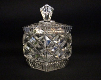 Vintage crystal sugar bowl/jam jar diamond and star cut-Bohemian crystal