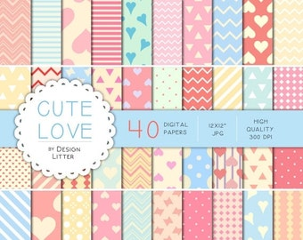 80% Until New Year - Cute Love digital paper: hearts, polka dots in pink, hot pink, light blue, peach and cream for scrapbooking, love cards