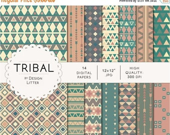 80% Until New Year - Tribal digital paper · tribal backgrounds and aztec pattern with triangles and tribal arrows for birthday party and gre