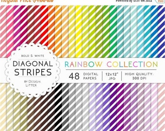 80% Until New Year - SALE Digital papers diagonal stripes · 48 rainbow bright backgrounds with diagonal stripes, oblique for scrapbooking ·