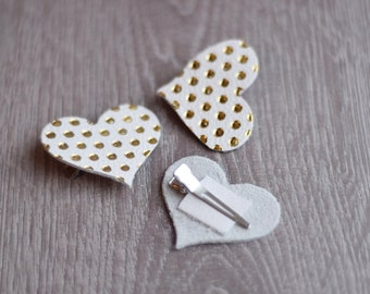 LIMITED SUPPLY, Single Heart Clip, Leather heart, Leather bow, Leather hair clip