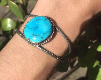 Turquoise Cuff Sterling Silver Navajo Silver Stamped MJ